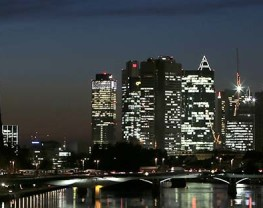 FRANKFURT AM MAIN, GERMANY - OCTOBER 31:  Skyscrapers, many of them belonging to leading European banks, stand illuminated in the city center on October 31, 2012 in Frankfurt, Germany. Frankfurt is the finance capital of Germany and is home to the European Central Bank. (Photo by Hannelore Foerster/Getty Images)