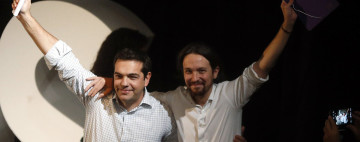 Podemos' Secretary General Pablo Iglesias and Alexis Tsipras, leader of Greece's Syriza party